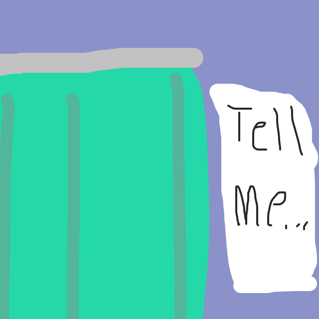 A man is asking the doctor to tell him from behind a curtain - Online Drawing Game Comic Strip Panel by TheExcellentBlob