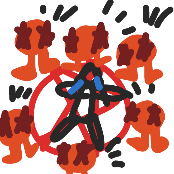 Orange creatures preform a ritualistic sacrifice on this person. - Online Drawing Game Comic Strip Panel by ideasflyingaway