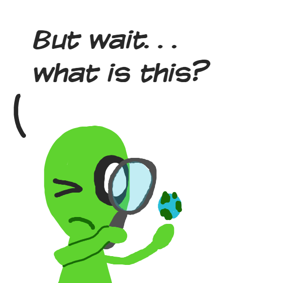 The alien discovers something it had not before noticed about the planet - Online Drawing Game Comic Strip Panel by YellowSheep