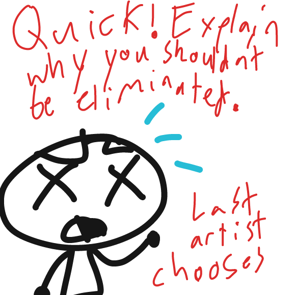 Explain the reasons why we shouldn't KILL you in your panel. The last artist chooses who dies in this bloodbath. - Online Drawing Game Comic Strip Panel by ideasflyingaway