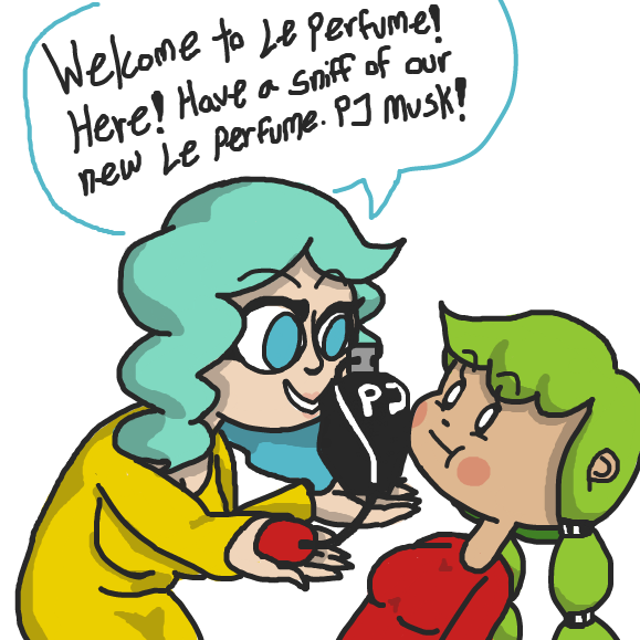 Welcome to Le Perfume! Someone wants to sell some PJ Musk to xavvy. What happens next? - Online Drawing Game Comic Strip Panel by xavvypls