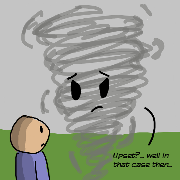 Is the tornado moved? It did upset the poor man!.. or..? - Online Drawing Game Comic Strip Panel by YellowSheep