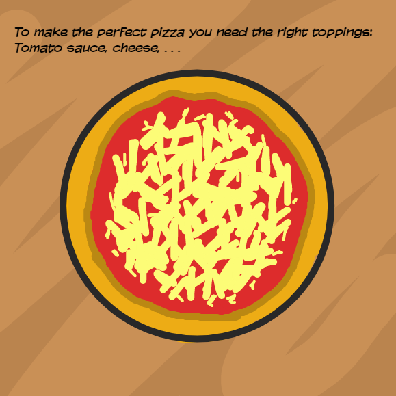 Toppings for the perfect pizza? - Online Drawing Game Comic Strip Panel by YellowSheep