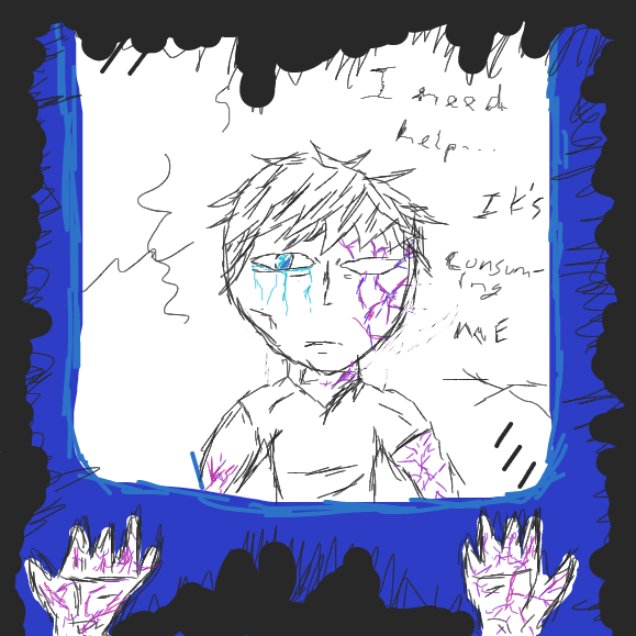 """I need help...It's consuming me"" - Online Drawing Game Comic Strip Panel by Void-God"