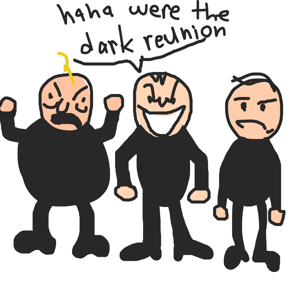 Oh look taromilkpudding, it's that dark reunion you keep talking about - Online Drawing Game Comic Strip Panel by Uugh