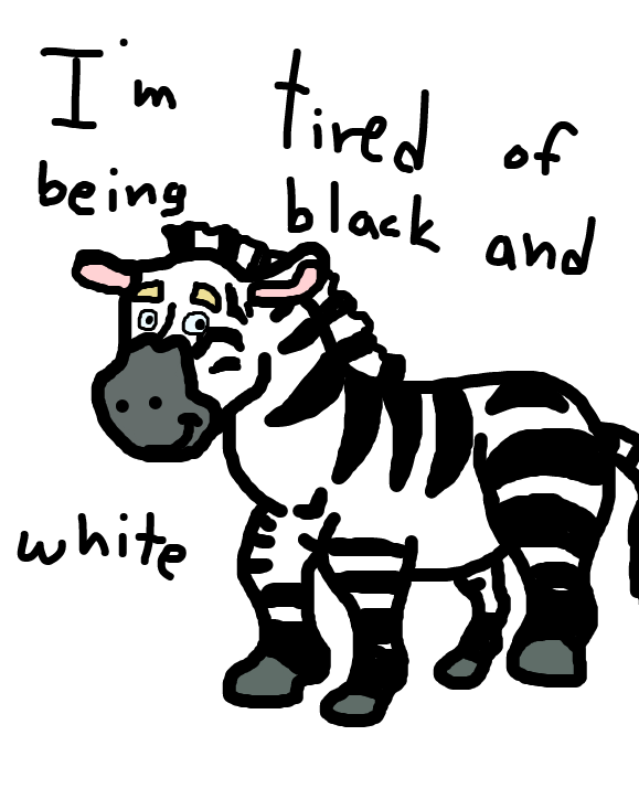 Zim the zebra is tired of being black and white. He is going to buy some paint so he can be a colorful zebra - Online Drawing Game Comic Strip Panel by SteliosPapas